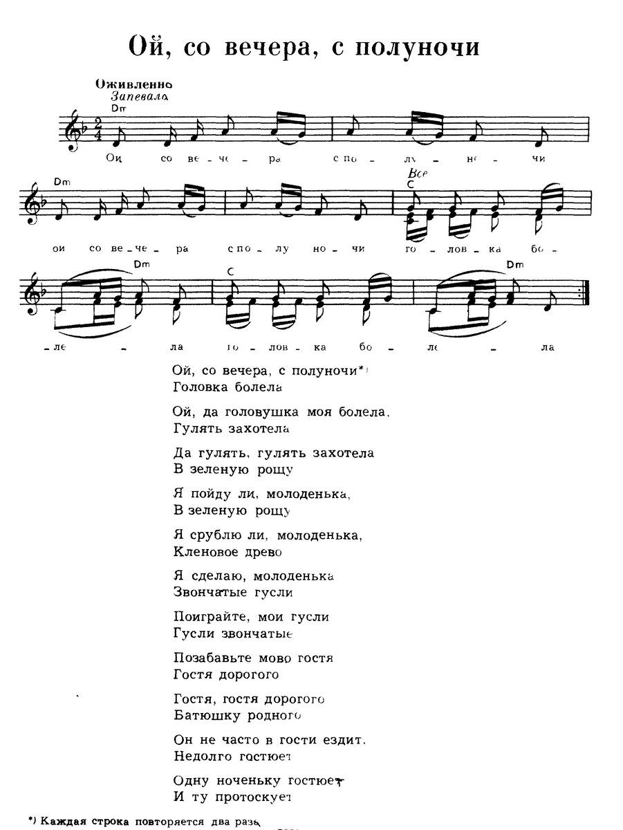 ноты для русских народных песен 22